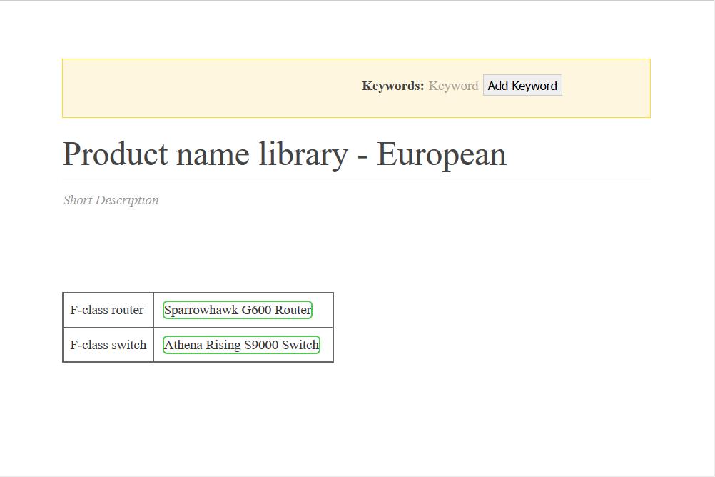 topik w easyDITA, zawiera tabelkę z nazwami produktów