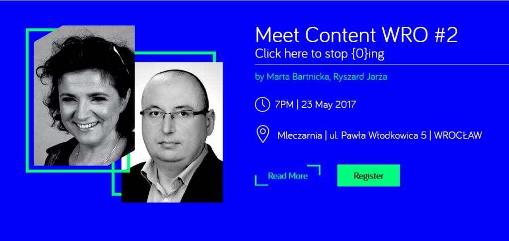 meet content wrocław, click here to stop zero ing, by Marta Bartnicka and Ryszard Jarża, 7pm, 23 may 2017, Mleczarnia, ulica Pawła Włodkowica 5, wrocław