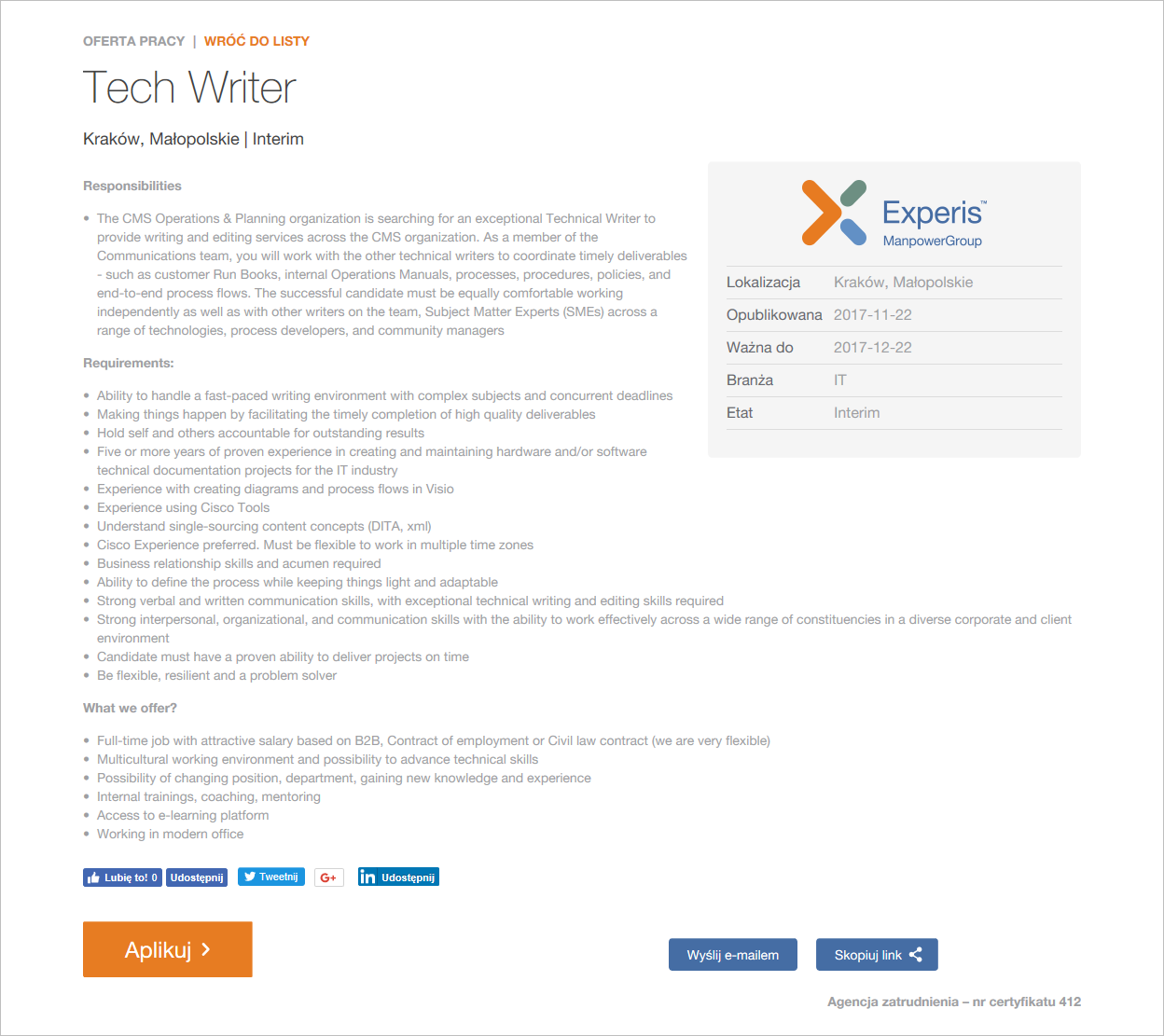 Oferta Tech Writer Cisco Experis IT