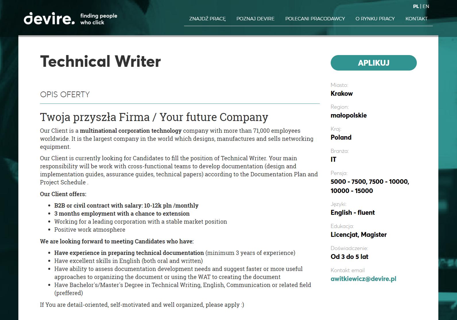 zrzut ekranu z ofertą pracy devire